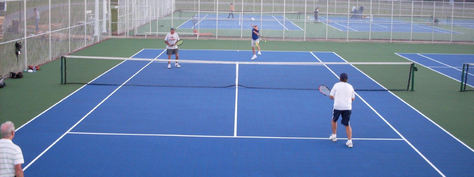 an outdoor tennis court